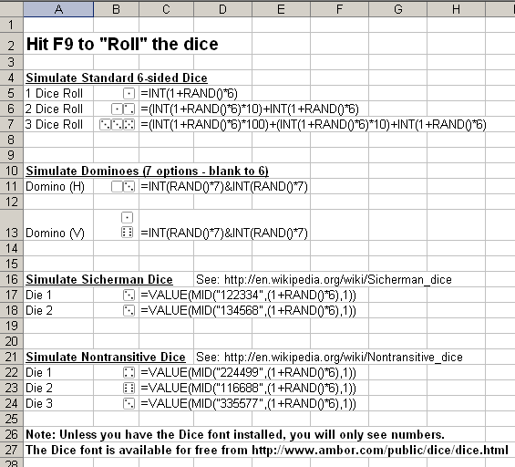 Dice Spreadsheet Screenshot
